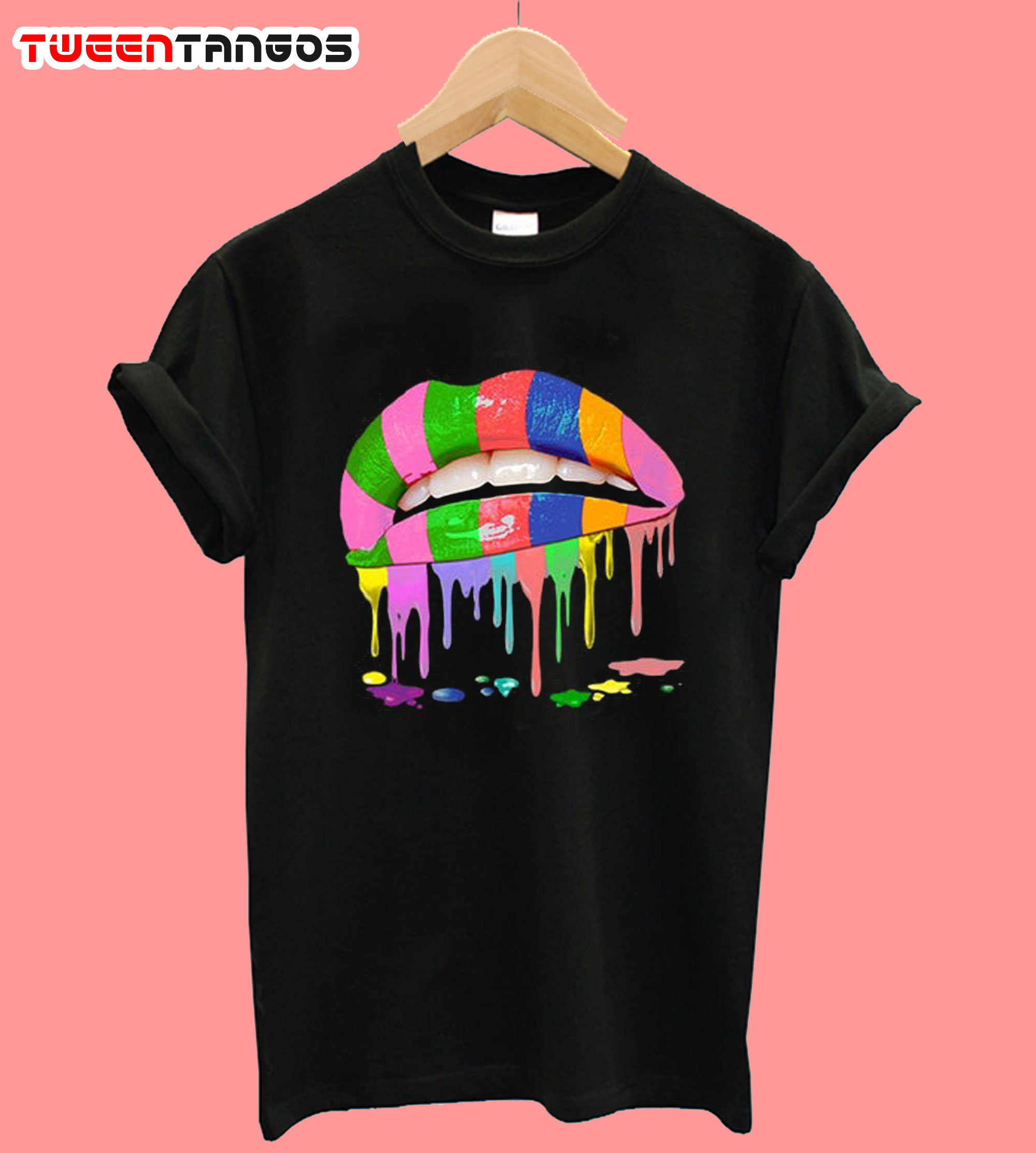 Rainbow Lips Dripping T-Shirt