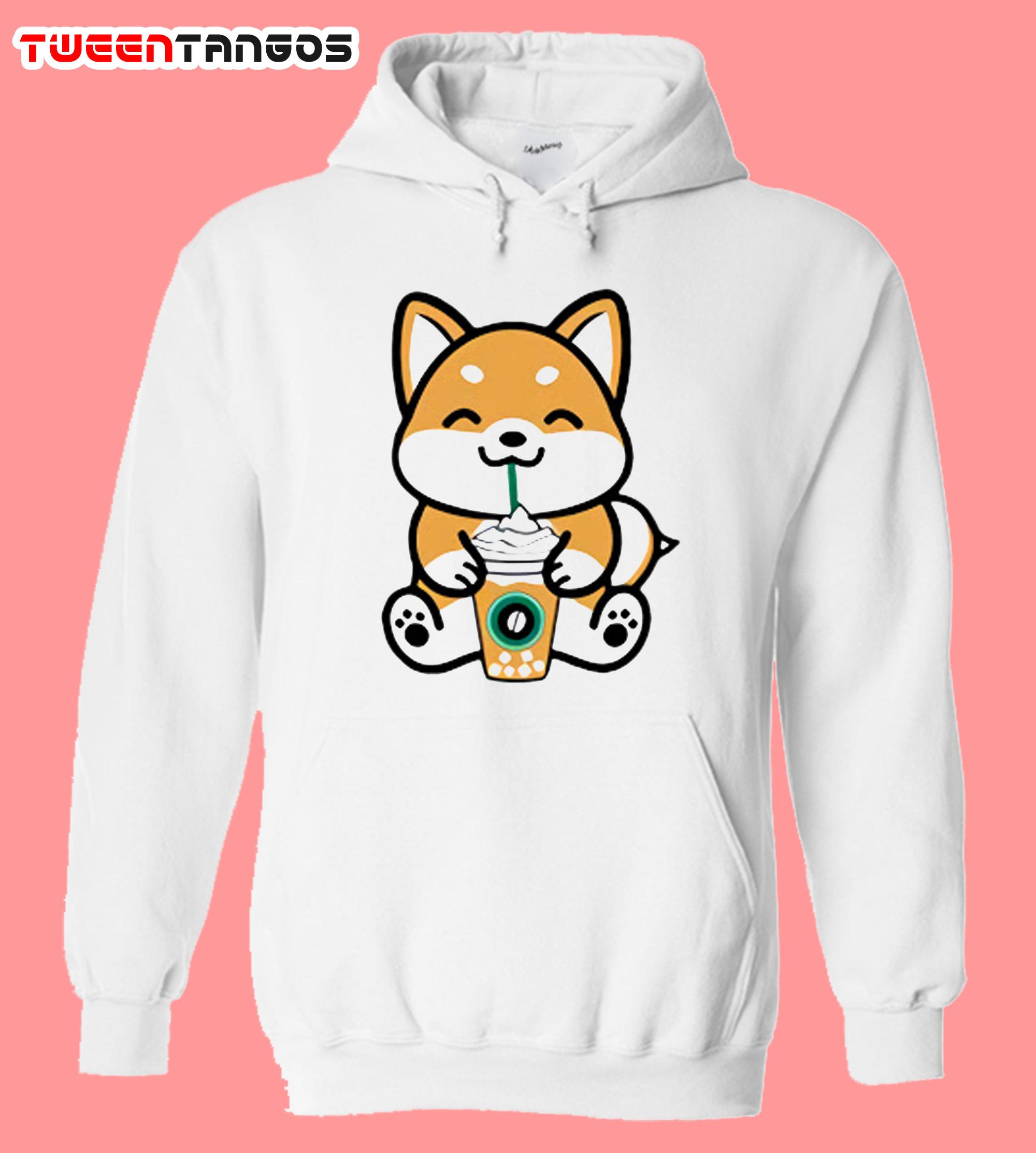 Anime Cartoon Dog Coffee Pullover Hoodie
