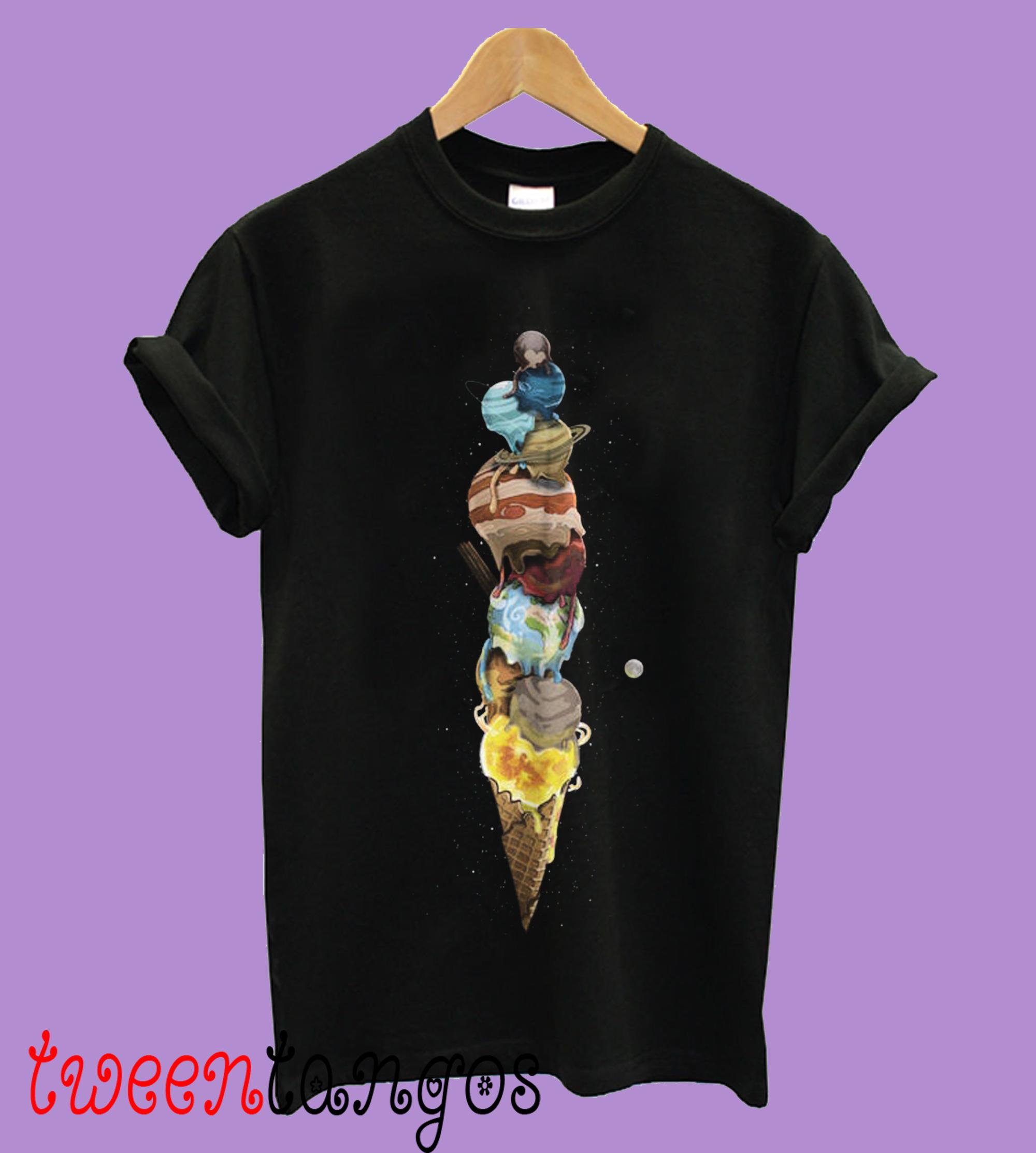 Women's Solar System Cone Black Shirt